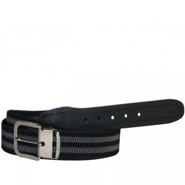 Stretchgürtel / Stoffgürtel - Schwarz / Grau gestreift mit schwarzem Leder