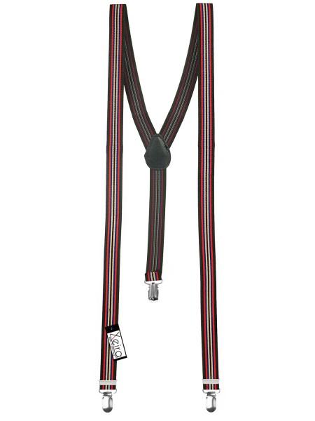 Hosenträger in Schwarz-Rot-Blau-Beige Gestreiften Design