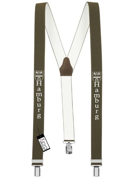 Hosenträger Hamburg Design mit 3 Clips von Xeira -Khaki