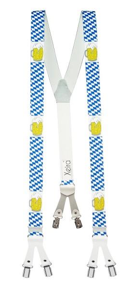 Hosenträger in Bayern & Bier Design mit Lederriemen und 6 Clips