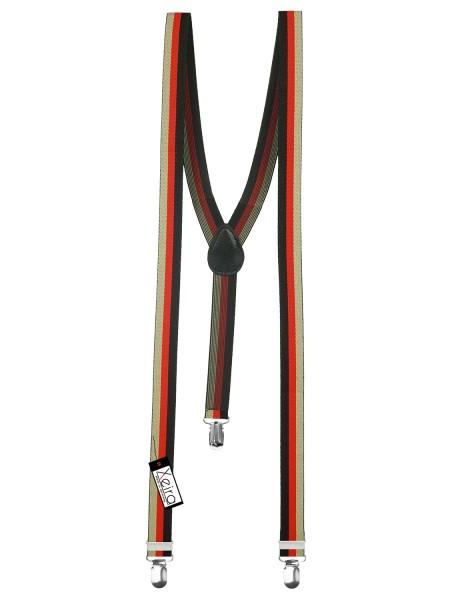 Hosenträger gestreift in Schwarz-Rot-Beige in Y-Form