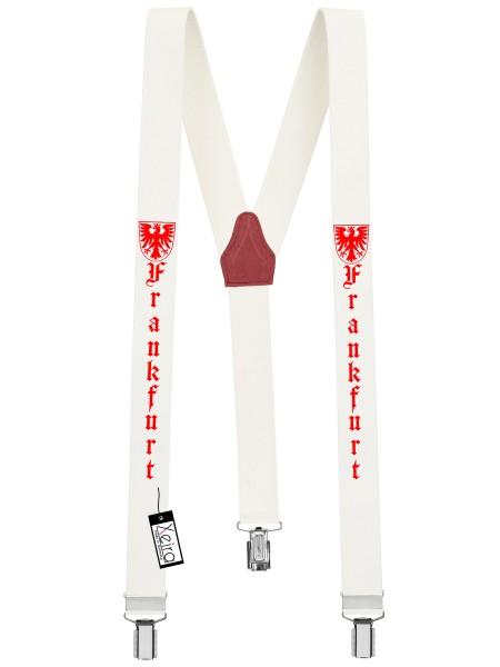 Hosenträger Frankfurt Design mit 3 Clips -Weiß