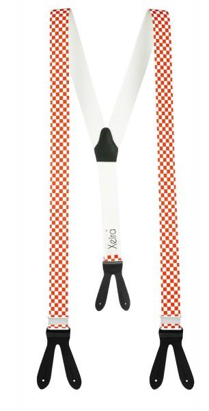 Hochwertige Hosenträger in Karro Design mit Lederriemen