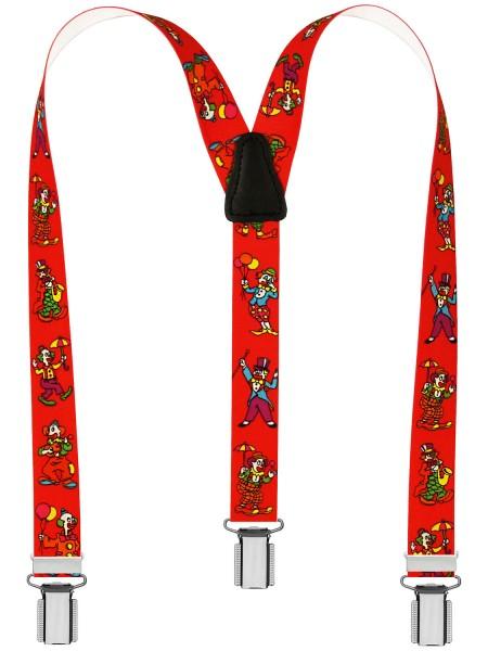 Kinder Hosenträger Clown Design Rot
