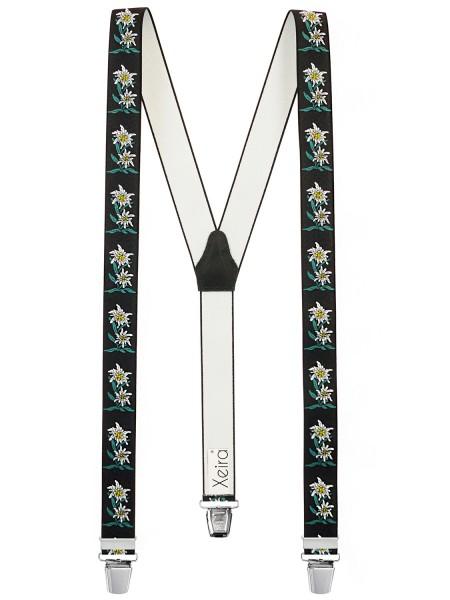 Hochwertige Hosenträger in Edelweiß Design - EXTRA LANG