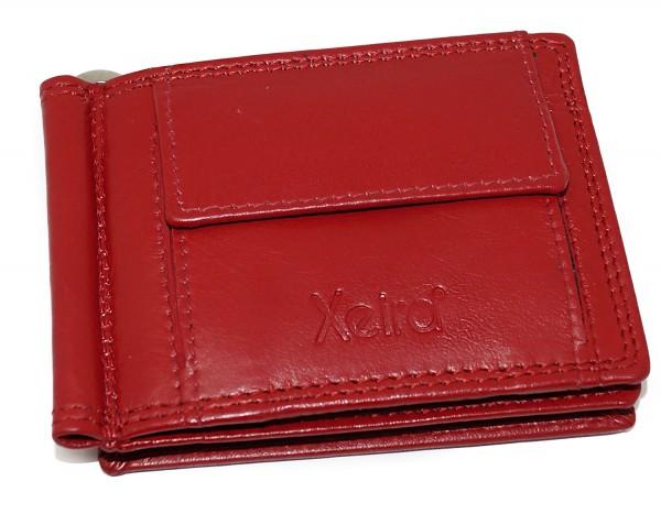 Geldbörse mit Klammer aus 100% Echt Leder Schwarz / Rot / Braun im Querformat