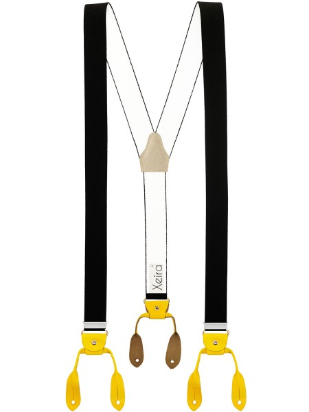 Hochwertige Hosenträger in Vintage UNI Design mit Lederriemen