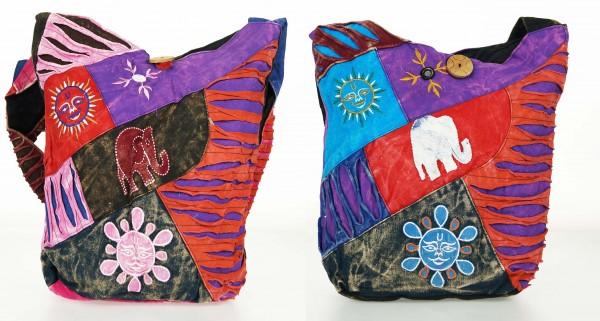 Trendige Ethno Hippie Indische Patchwork Elefant Design Baumwolle Taschen