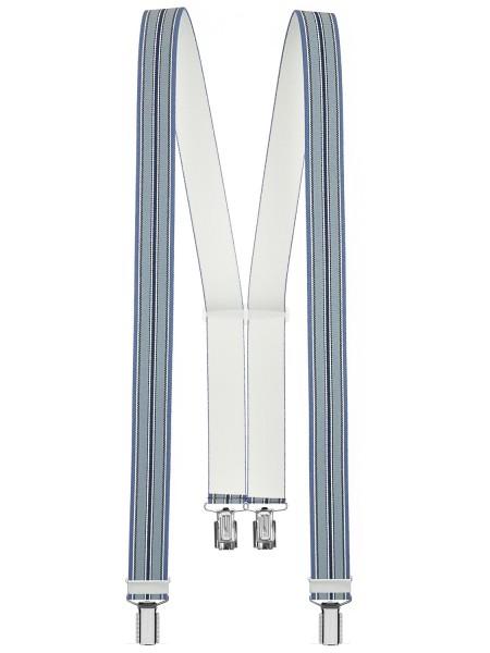 Hosenträger in Trendigen Blau / Schwarz / Weiß mit 4 Clips