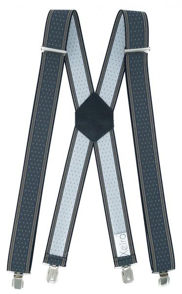 Hosenträger X Design 4 Clips Grau / Weiße Punkte - 120cm