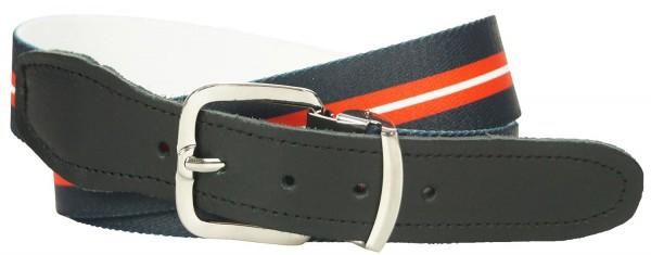 Stretchgürtel / Stoffgürtel - Schwarz-Rot-Weiß Gestreift