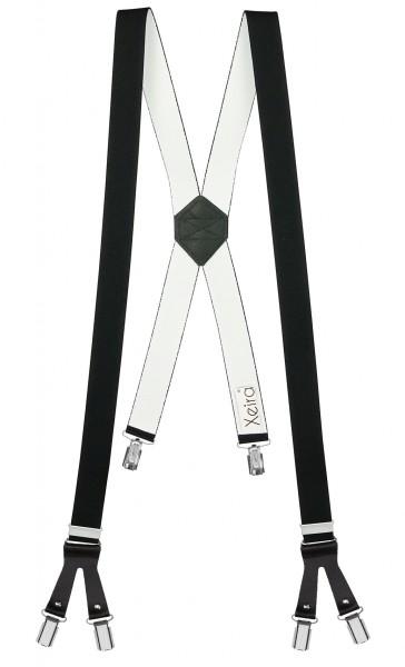 Hosenträger in X Form mit 6 Clips und Lederriemen Schwarz 110cm