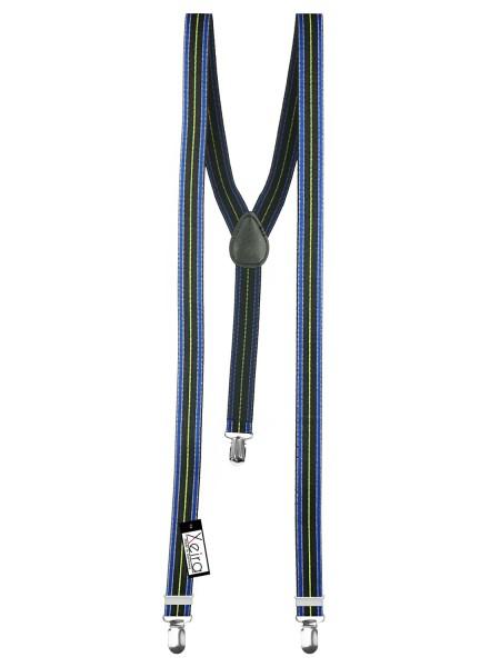 Hosenträger in Blau / Schwarz / Grün Gestreiften Design mit