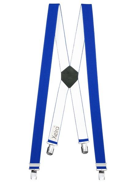 Hosenträger X-Design in Uni Farben mit 4 XL Clips Königsblau 110cm