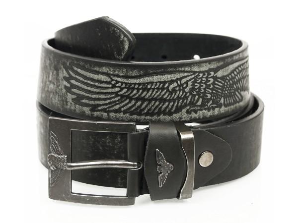 Gürtel in Eagle Design - 4cm Breit - Schwarz