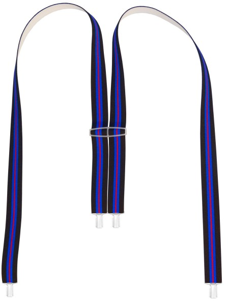 Hochwertige Hosenträger Blau/Rot Gestreift 4 Clip Design