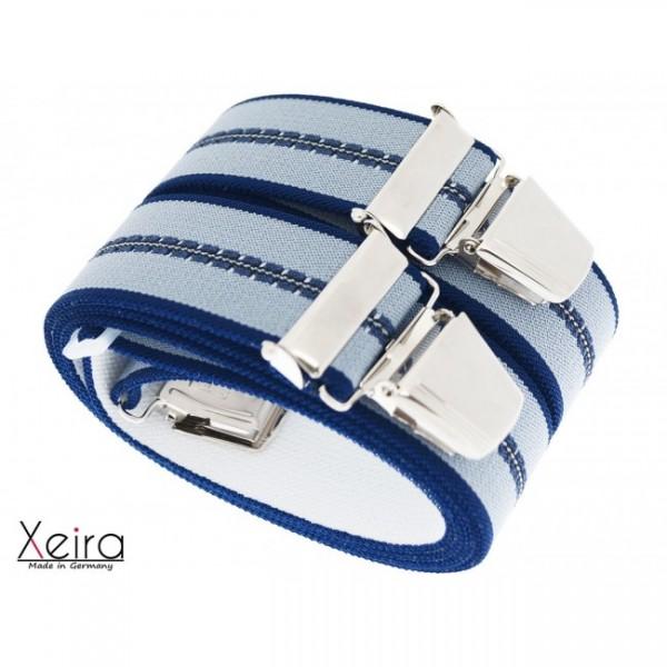Hosenträger in Blau-Grau Gestreiften Design mit 4 XL Clips