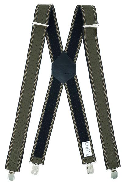 Hosenträger X Design 4 Clips Grün / Khaki Punkte - 120cm