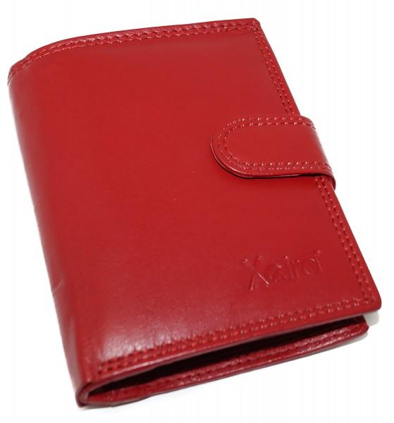 Geldbörse aus 100% Echt Leder Schwarz / Rot / Braun im Hochformat