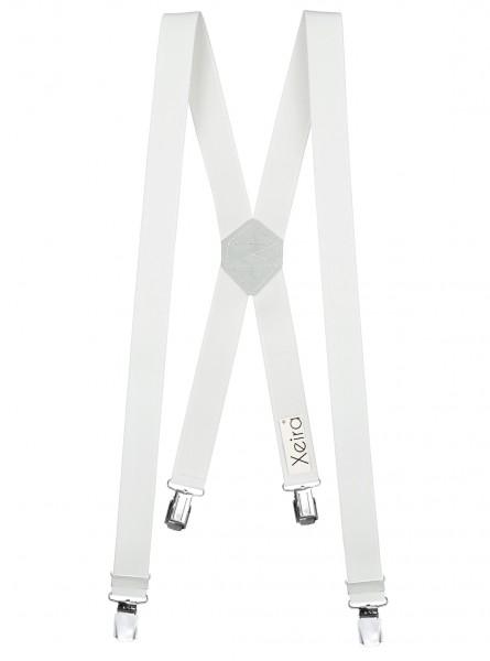 Hosenträger X-Design in Uni Farben mit 4 XL Clips Weiß 110cm