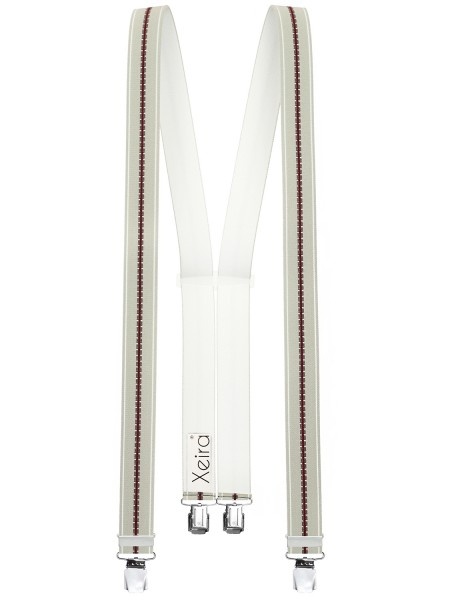 Hosenträger in Beige Gestreiften Design mit 4 XL Clips