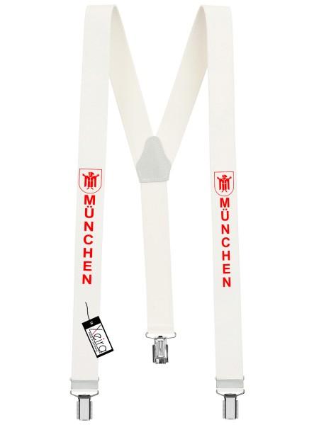 Hosenträger München Design mit 3 Clips von Xeira -Weiß