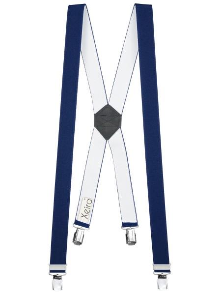 Hosenträger X-Design in Uni Farben mit 4 XL Clips Dunkelblau 110cm