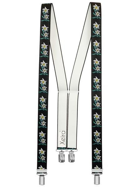 Hochwertige Hosenträger in Edelweiß Königsblau Design mit 4 Clips