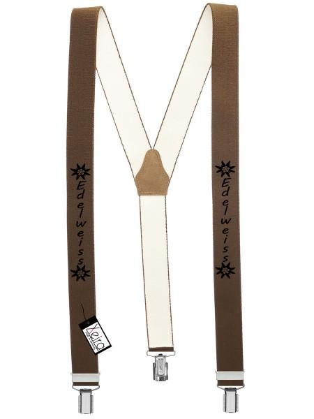 Hosenträger Edelweiss Design mit 3 Clips von Xeira- Braun