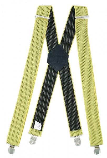 Hosenträger X Design 4 Clips Gelb / Schwarz Punkte - 120cm