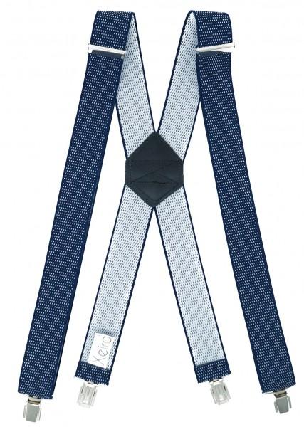 Hosenträger X Design 4 Clips Dunkelblau / Weiß Punkte - 120cm