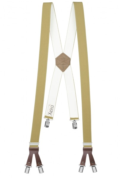 Hosenträger in X Form mit 6 Clips und Lederriemen Beige 110cm