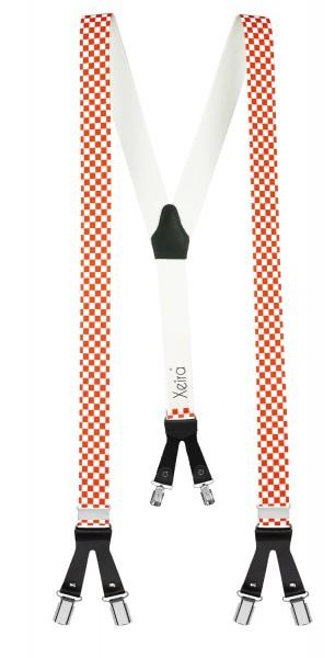 Hosenträger in Kariert Design mit Lederriemen und 6 Clips