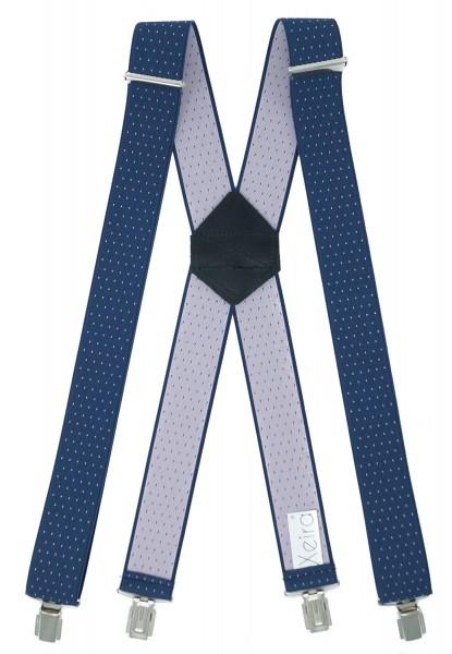 Hosenträger X Design 4 Clips Blau / Violet Punkte - 120cm