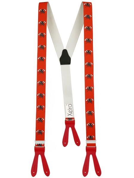 Hochwertige Hosenträger Feuerwehr Design - mit Lederriemen