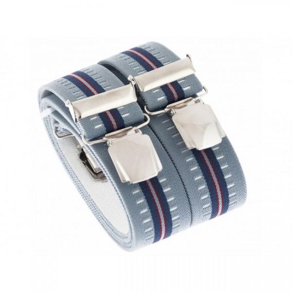 Hosenträger in Blau Gestreiften Design mit 4 XL Clips