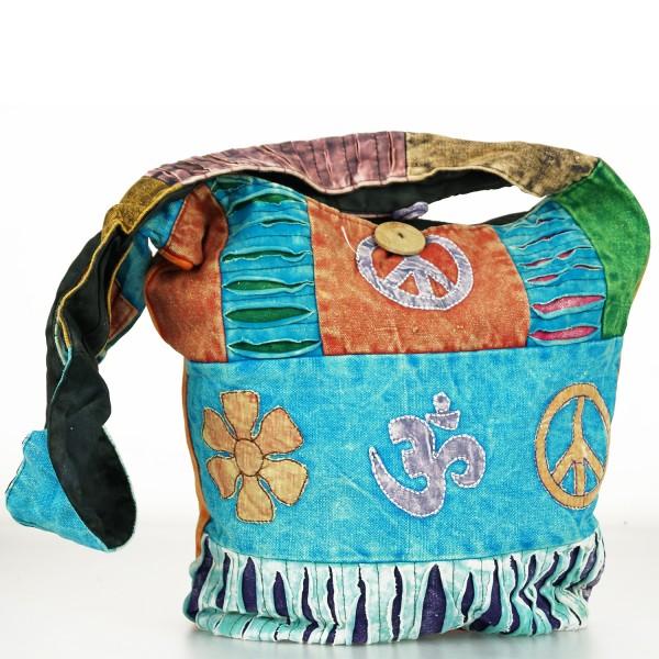 Trendige Ethno Hippie Indische Patchwork OM / Peace Design Baumwolle Taschen