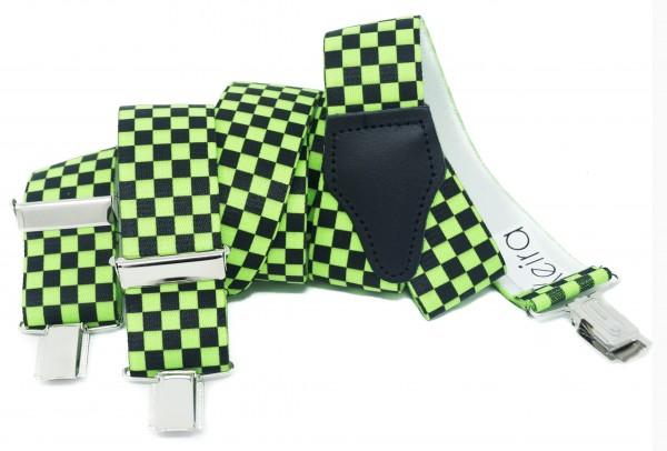 Hosenträger in Neon Farben Kariert Design mit 3 Clips Neon Green NL