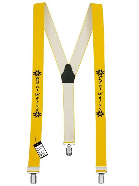 """Hosenträger """"Edelweiß"""" in Gelb, Y-Form"""