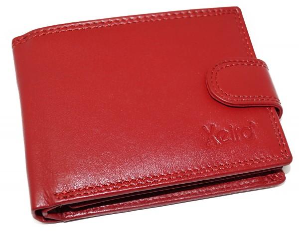 Geldbörse aus 100% Echt Leder Schwarz / Rot / Braun im Querformat