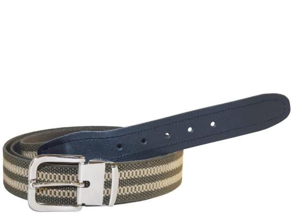 Stretchgürtel / Stoffgürtel - Oliv / Khaki gestreift mit schwarzem Leder