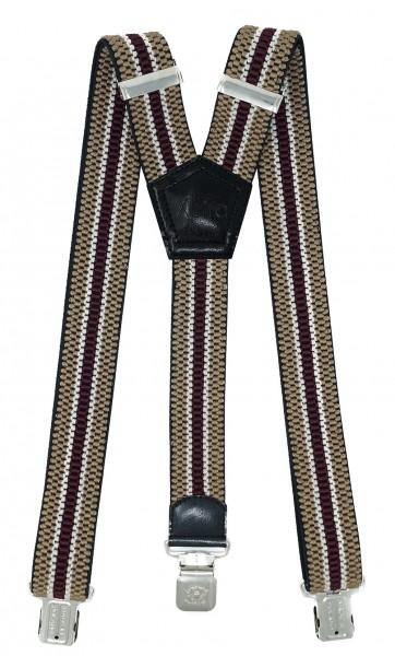 Hosenträger mit 3 Adler Clips 40mm Breit - Beige / Bordeaux