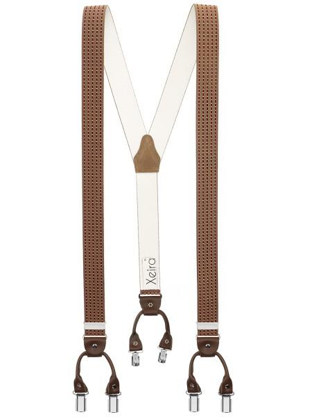 Hosenträger von in Trendigen Braun / Bordeaux Gestreift mit Vintage Lederriemen und 6 Clips