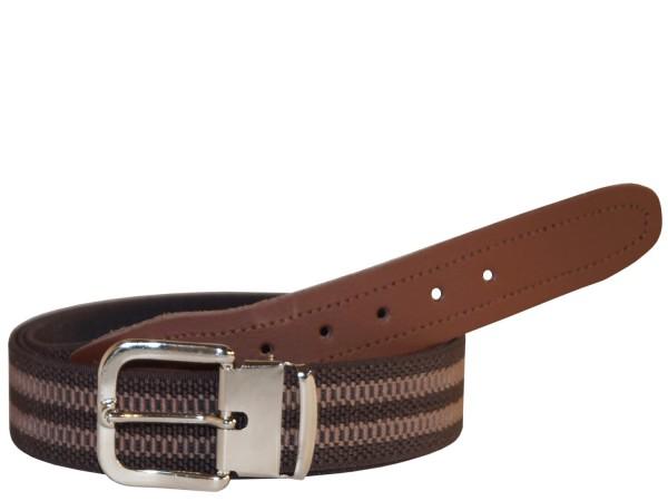 Stretchgürtel / Stoffgürtel - Braun gestreift mit braunem Leder