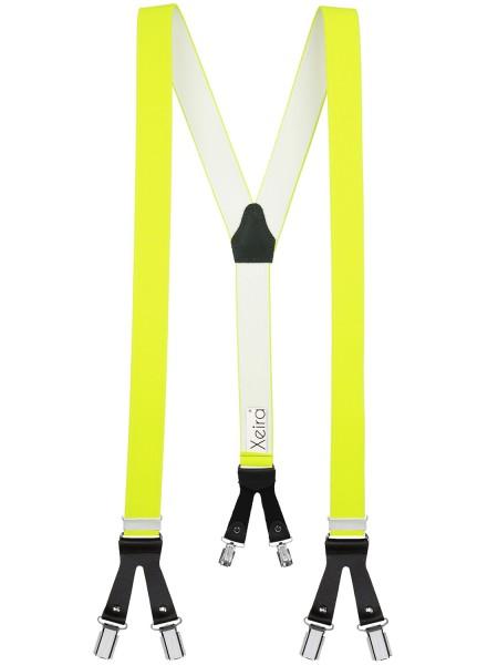 Hosenträger in Neon Farben mit Schwarzen Lederriemen 6 Clips