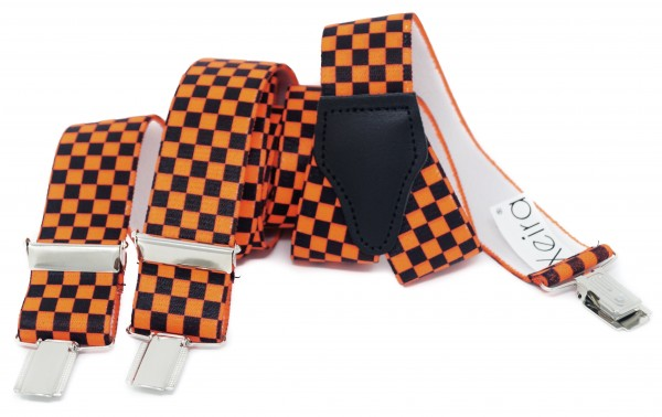 Hosenträger in Neon Farben Kariert Design mit 3 Clips Neon Orange NL