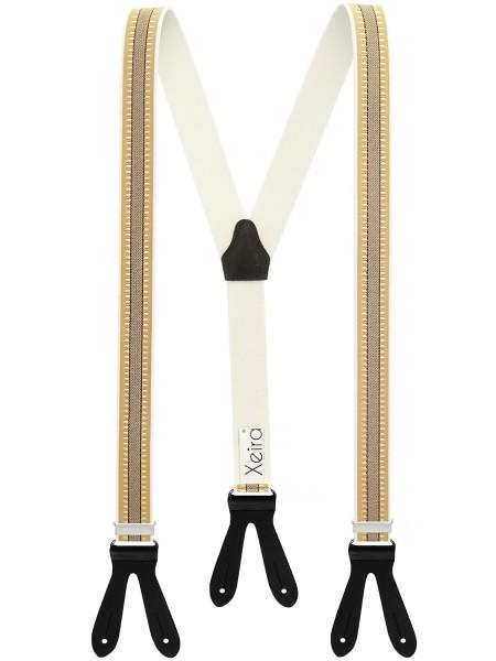 Hochwertige Hosenträger in Beige - Schwarze Streifen Design