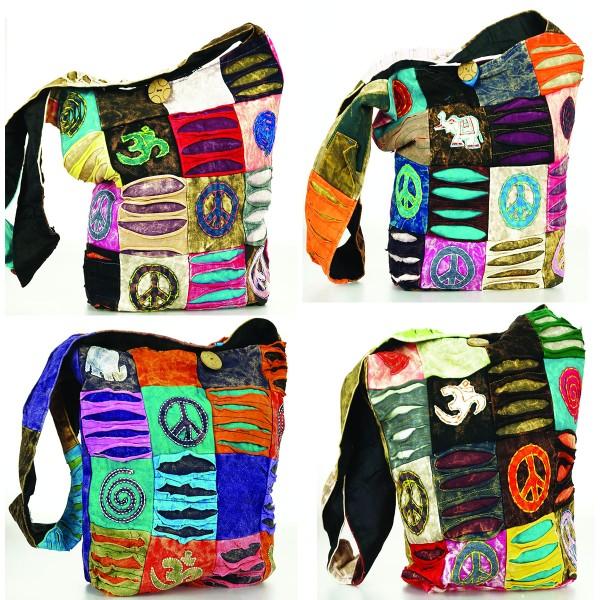 Trendige Ethno Hippie Indische Patchwork Peace / OM / Elefant Design Baumwolle Taschen