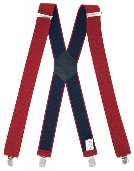 Hosenträger X Design 4 Clips Rot / Blaue Punkte - 120cm
