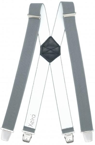 Hosenträger mit 4 XL Clips Extra Lang Grau